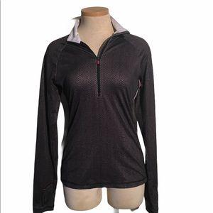 Athleta Half Zip Chevron Striped  Pullover Gray